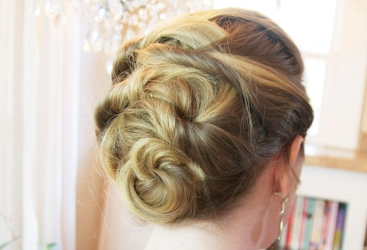 woven updo hairstyle
